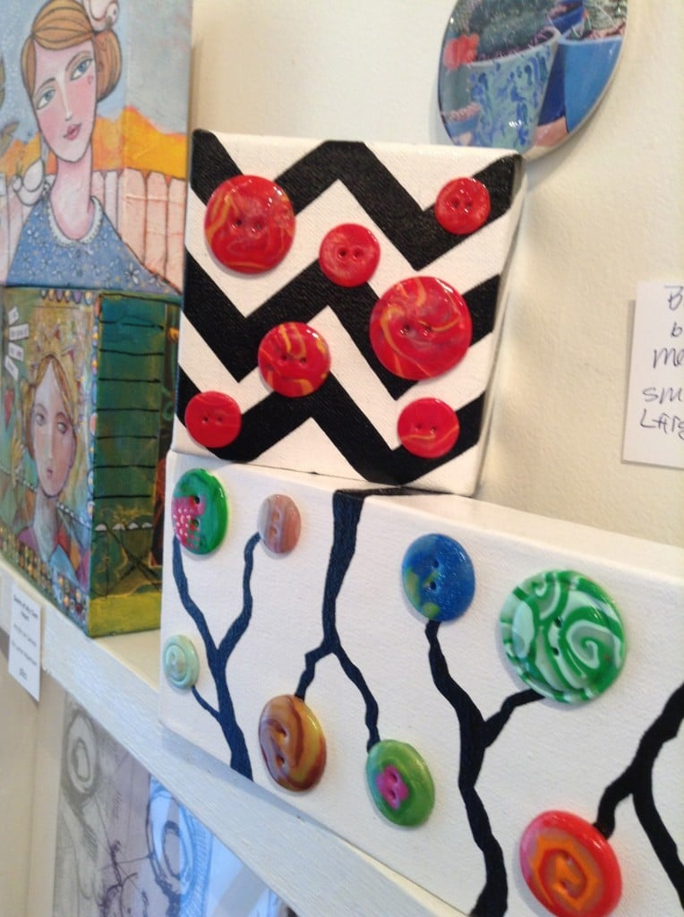 Hand-made Buttons in painted canvas by our very own Megan Dresback