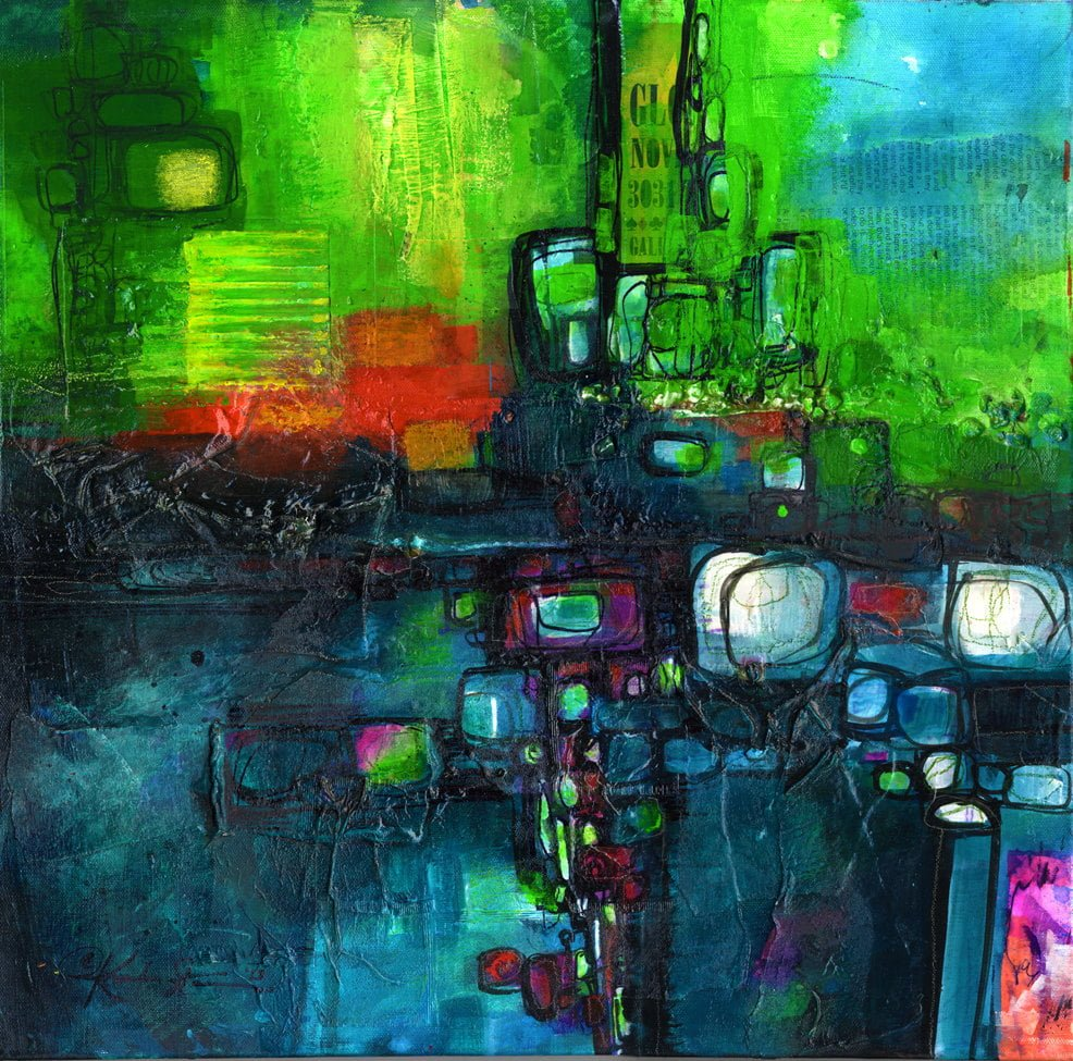 """Rhythm Of The City"" Mixed Media by Kathy Morton Stanion"