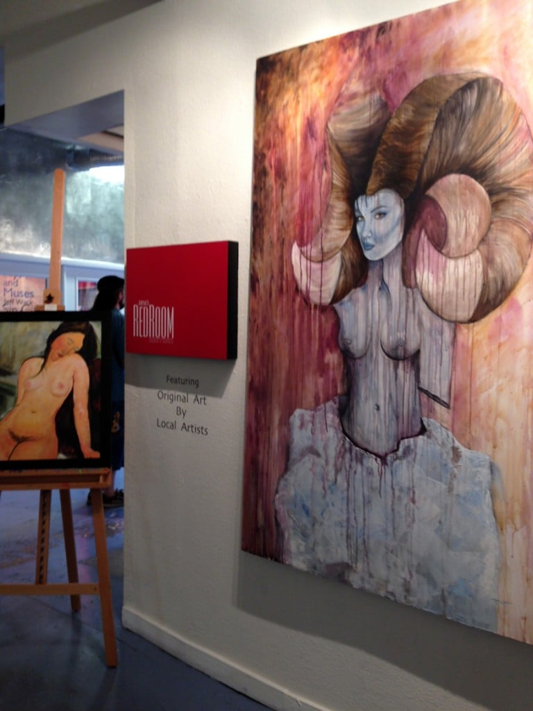 Jennifer McCarty's acrylic painting titled Transformation of a Ram Goddess