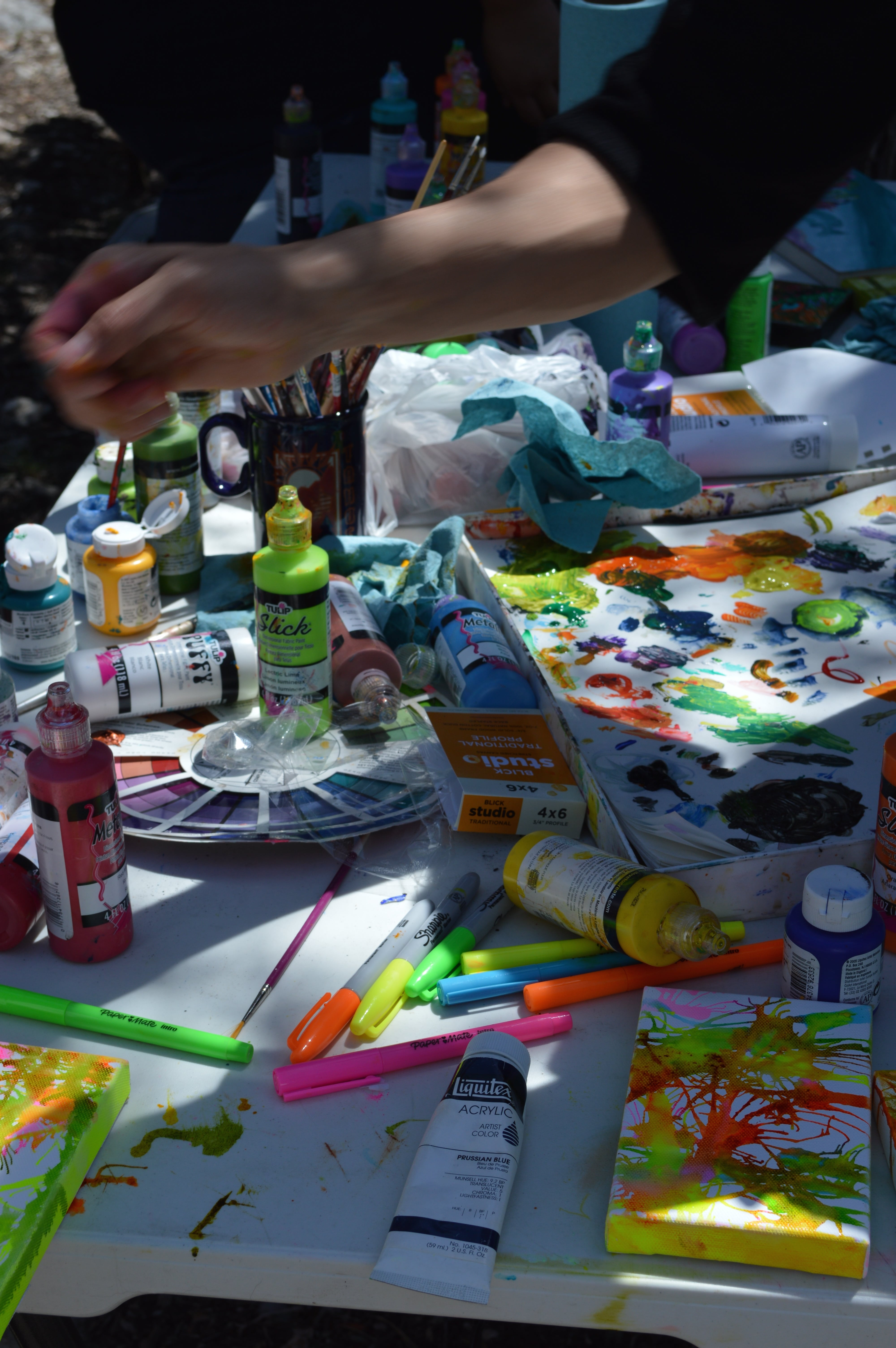Art supply table at our Camping Trip in May ... So Much Fun!