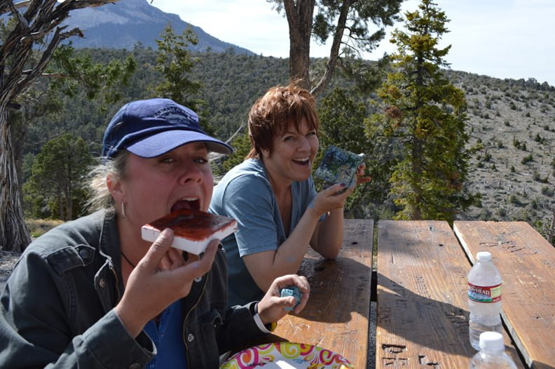 Kim Johnson and Cindy Berry Sullivan. members of the 2014 Jana's RedRoom Elite Artist Team Members having a blast in Campsite #13