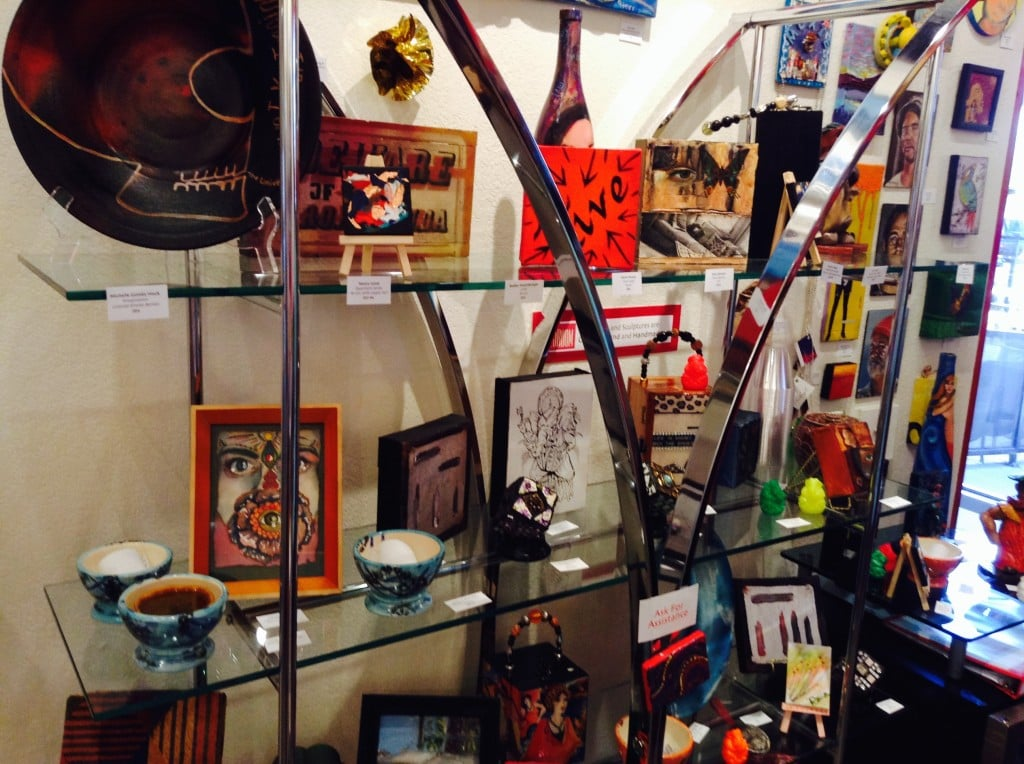 Glass Shelf full of art perfect for Gift Giving at  Jana's RedRoom