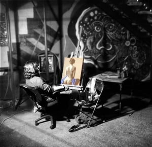 Chris Wagemann painting live at October South Wing Fifth Friday