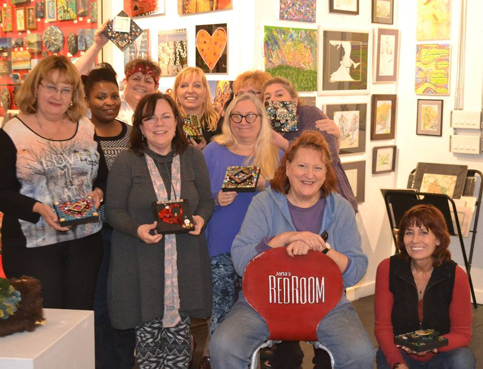 """Ten local artists attend Lisa Fields Clark Mosaic class - Fun was had by all - plus we all learned a new skill including gold Leaf application"""""""