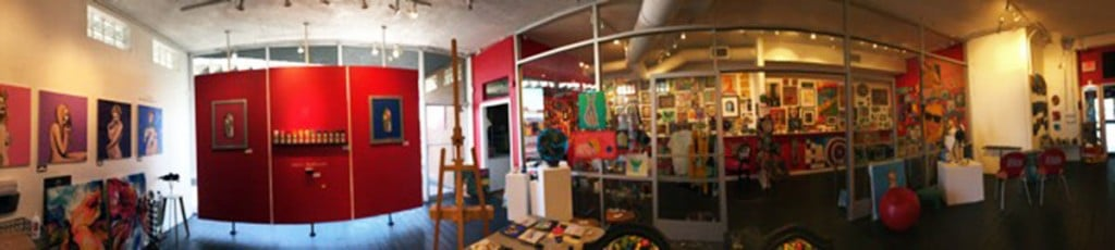 Panoramic view of Jana's RedRoom Main and Solon Gallery
